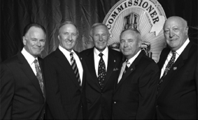Chairman Greg Meyer, Joseph Wambaugh, retired Chief Daryl Gates, Keith Bushey and Richard Kalk accepted an award from the San Diego Police Historical Association on behalf of LAPM.